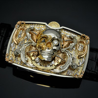 Solid 18K Yellow & White Gold Skull Buckle