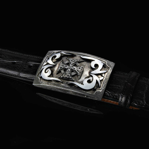 Sterling Silver Box Buckle With Handmade Iron Cross & Tribal Scrolls Overlay