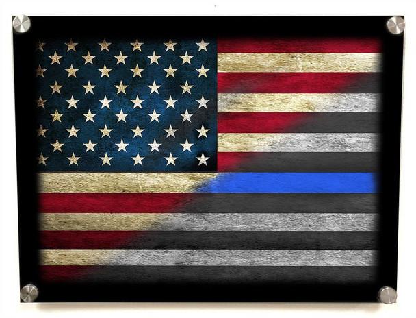 Thin Blue Line American Flag Aluminum Standoff Wall Decor