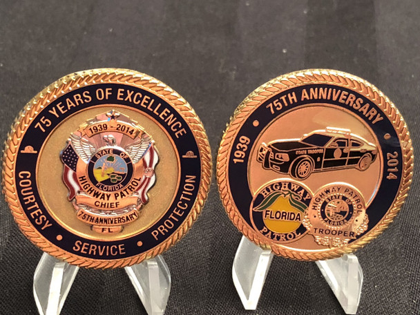 FLORIDA HIGHWAY PATROL 75TH CHIEF CHALLENGE COIN RARE