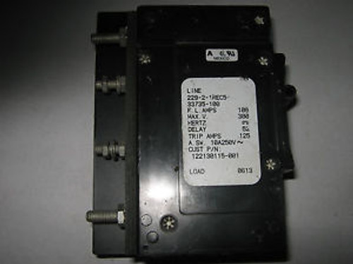 1 pc Airpax 229-2-1REC5-33735-100 Circuit Breaker, 100A, 300V, Used