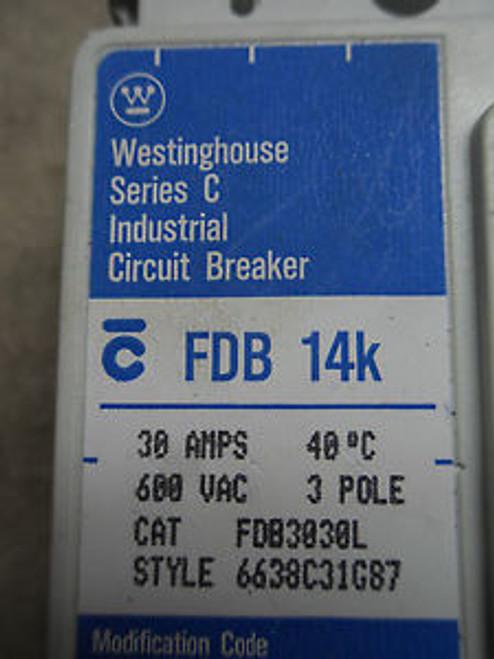 (A0) 1 USED WESTINGHOUSE FDB3030L 30A 600VAC CIRCUIT BREAKER