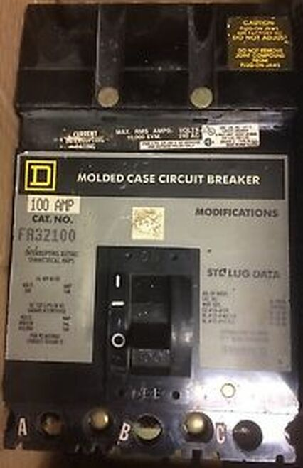 (1) SQUARE D FA32100 CIRCUIT BREAKER 3 POLE 100 AMP