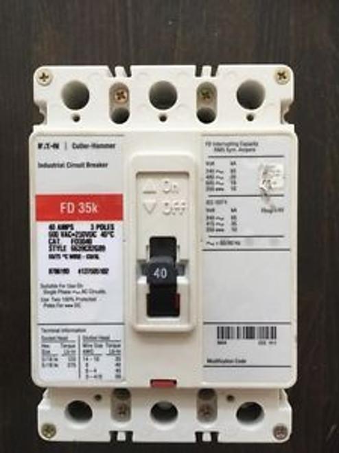 (1) Fd3040 Eaton Cutler Hammer 35K Circuit Breaker