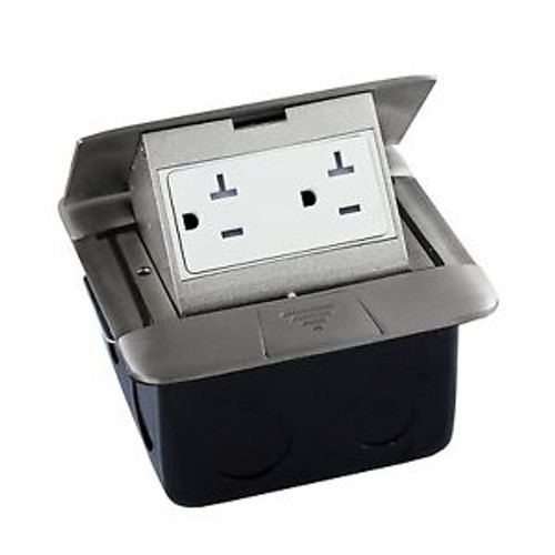 Arc Square Pop-up Floor Box Stainless Steel 665554-S W/20A TR Receptacle