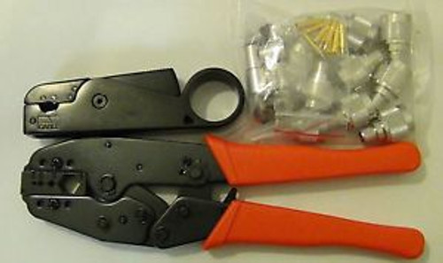 10 N Male Connector RG-214 + 3-BLADE Metal Cable STRIPPER+ Ratchet CRIMPER TOOL