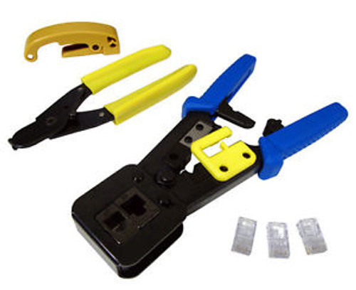 Ethernet Cable Network Tool Kit Coax Cutter Stripper Rj45 Plug Hd Crimper 3192