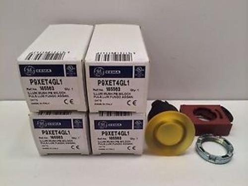 (4) NEW GE / GENERAL ELECTRIC YELLOW MUSHROOM PUSHBUTTON W/ LOCK P9XET4GL1