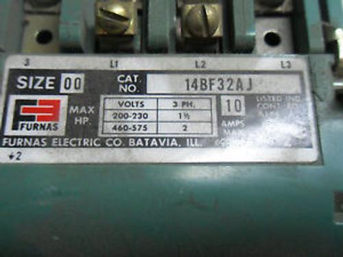 (H3-7)I USED FURNAS 14BF32AJ STARTER 10AMP 3PH 200-230V 460-575V SIZE-00