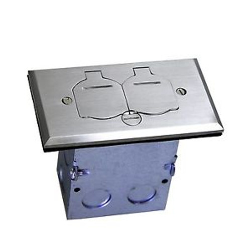 1-Gang Stainless Steel Plate Floor Box W/ 15A TR Receptacle /Outlet 705507-S