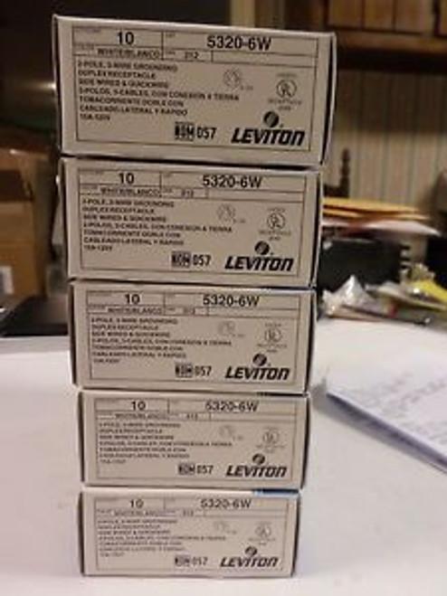 (5) BOXES OF (10) LEVITON 5320-6W 5320W WHITE DUPLEX RECEPTACLE 2 POLE