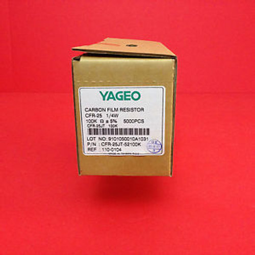 100Kohm 1/4W  5% Yageo Carbon Film Resistor 75000 Pieces