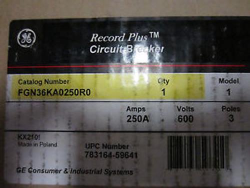 NEW GENERAL ELECTRIC FGN36KA0250R0 250V 600AMP 3POLE CIRCUIT BREAKER