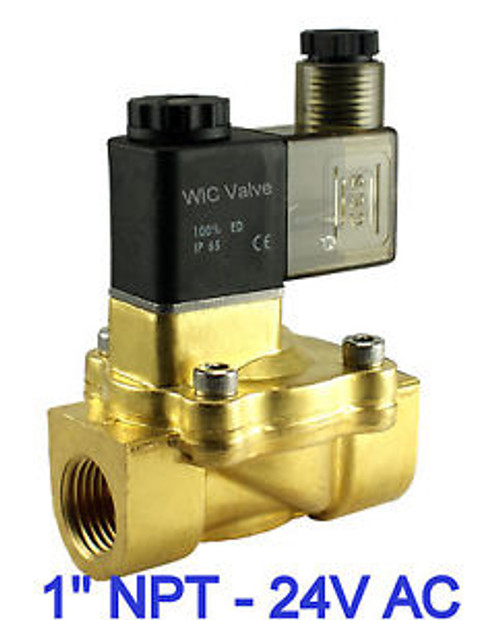 1 Brass Pneumatic Electric Air Water Solenoid Valve Normally Closed 24V AC NBR