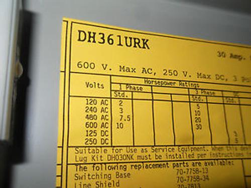 (Q7-6) 1 NIB CUTLER HAMMER DH361URK SAFETY SWITCH