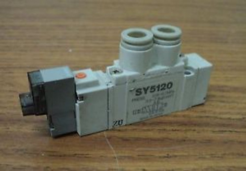 LOT OF 2 SMC PNEUMATIC SY5120 SOLENOID VALVE 0.15-0.7MPa 24VDC 5/16 8MM
