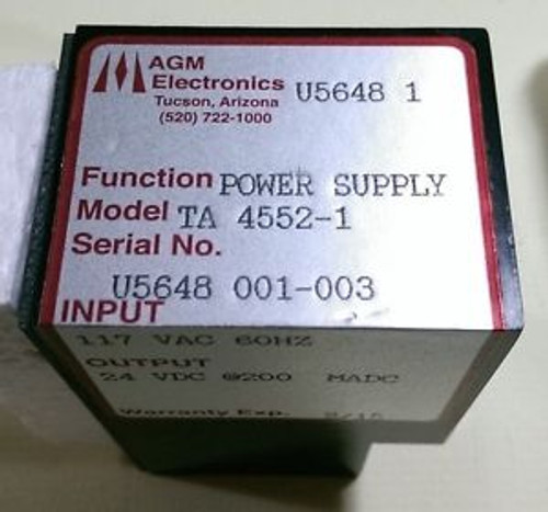 3 AGM ELECTRONICS POWER SUPPLY Model TA-4552-1 INPUT 117VAC OUTPUT 24VDC