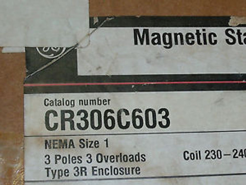 #1430  CR306C603 Magnetic Starter New New surplus 3R Never used SIZE 1 230 coil