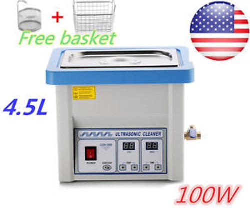 4.5L Ultrasonic Cleaner Stainless Steel Machine Industry Hetaer Timer Basket USA