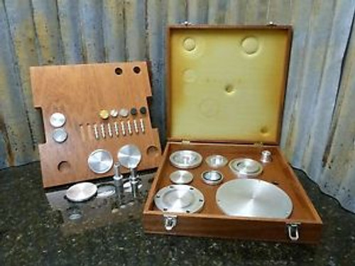 Vintage Medical Wooden Box Full Of Precision Aluminum Machined Bits