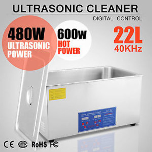 Stainless Steel 22L Liter Industry Heated Ultrasonic Cleaner Heater w/Timer
