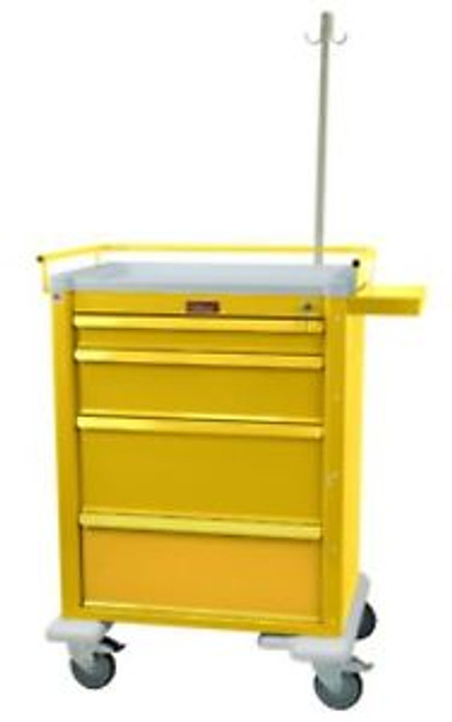 New: Harloff [6521-Yl] Universal Line Tall 4 Drawer Infection Control Cart