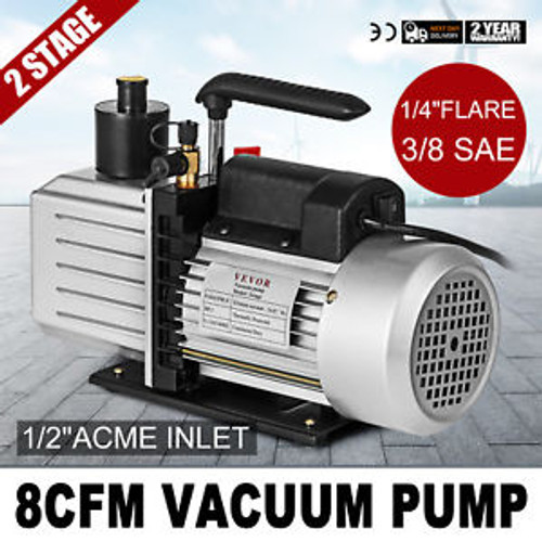 8Cfm Two-Stage Rotary Vane Vacuum Pump 1/2Acme Inlet Hvac/Auto 500Ml Capacity