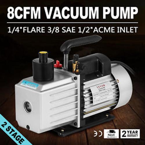 8Cfm 2-Stage Rotary Vane Vacuum Pump 1/2Acme Inlet 15Micron 1Hp 500Ml