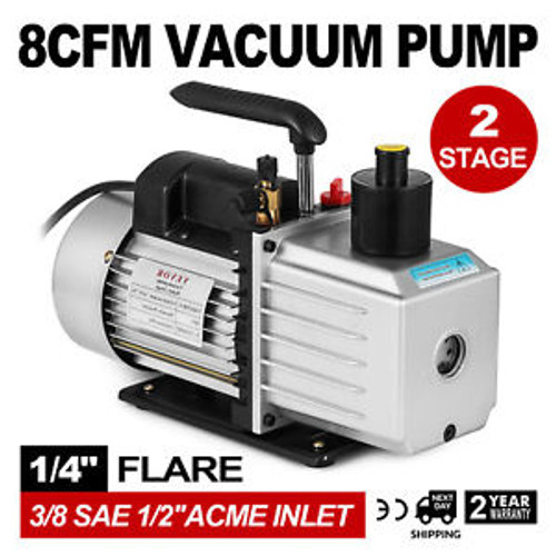 8Cfm Two-Stage Rotary Vane Vacuum Pump 1/2Acme Inlet Degassing Oil Reservoir