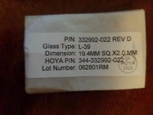 ( Qty 3 ) Hoya Glass Type L-39  19.4mm SQ.X2.0 mm P/N: 344-332992-022