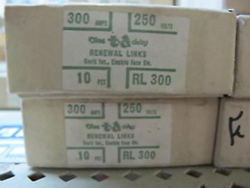 (10) Bussman RL300 ReNewable Fuse Links 300 AmpBox of 10 New