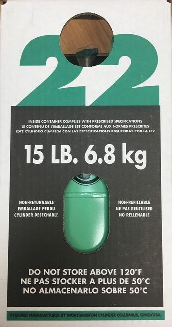 15 lbs of R22 Refrigerant / Freon - Unopen / Sealed 15 lb cylinder of R-22