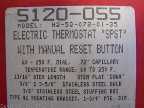 5120-055 - ROBERTSHAW - MODEL# H2-52-072-01-35 ELECTRIC THERMOSTAT WITH MANUAL R