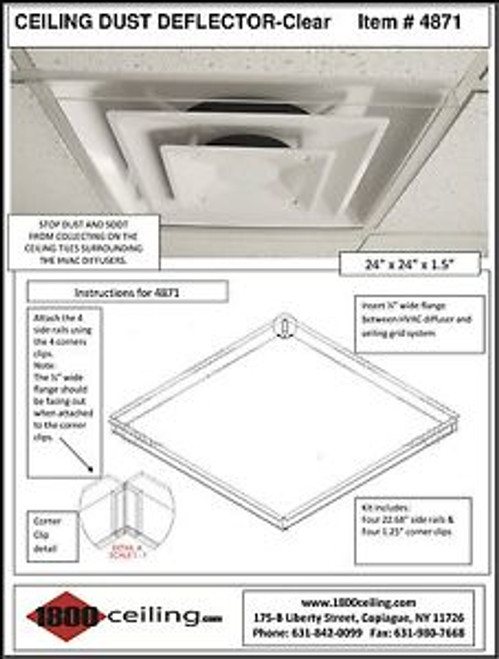Clear Ceiling Dust Deflector for 24 x 24 Package of 35 units