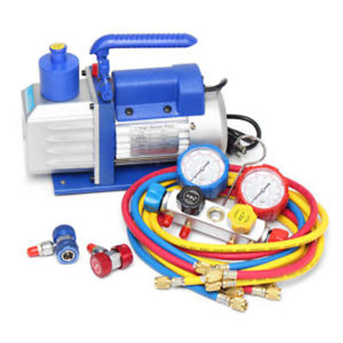 4.8 CFM Vacuum Pump HVAC A/C Refrigerant W/4Valve Manfold Gauge