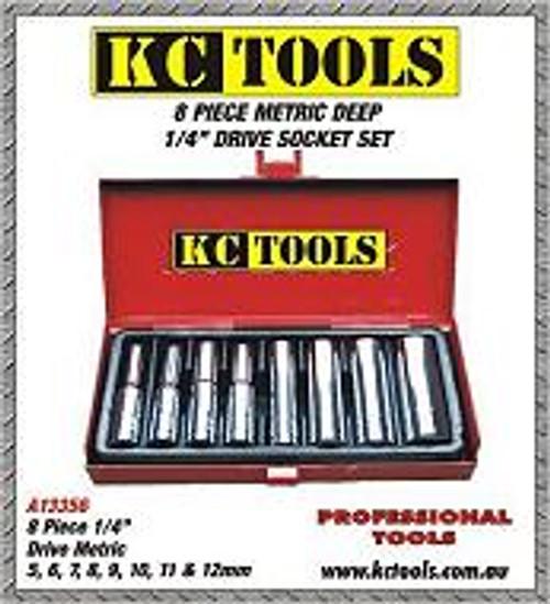 KC Tools 1/4 inch DRIVE SOCKET SET/DEEP SOCKETS METRIC A13356