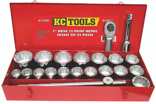 "KC Tools 1"" Heavy Duty Socket Set Metric A13366"