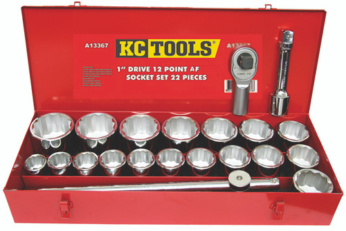 "KC Tools 1"" Heavy Duty Socket Set AF A13367"
