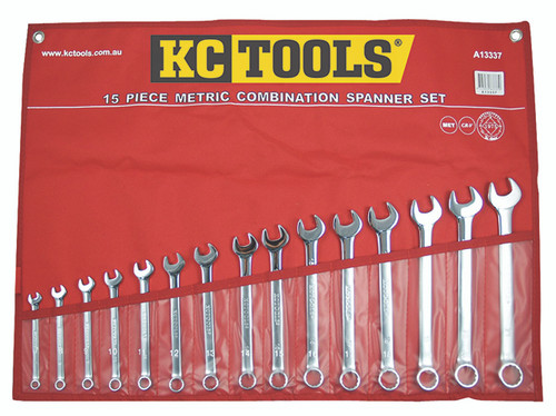 KC TOOLS 15PCE NO GAPS METRIC COMBO SPANNER SET A13337