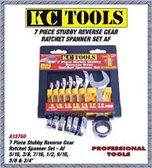 A13760 Kc Tools 7pce Stubby Reverse Gear Spanner Set AF.
