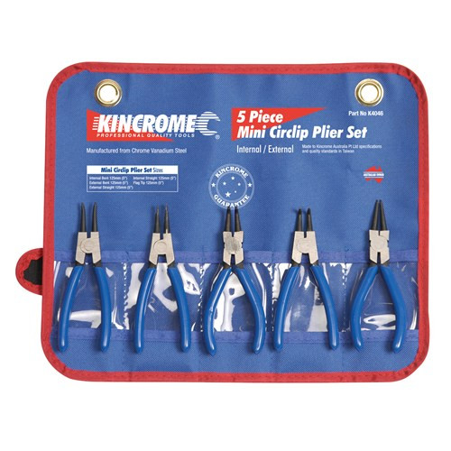"K4046 Kincrome Mini Circlip Plier Set 5 Piece 125mm (5"")."