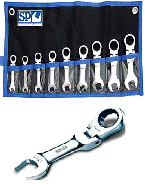 SP10389 Sp Tools 9pc Stubby Flexhead SAE Geardrive Spanner Set