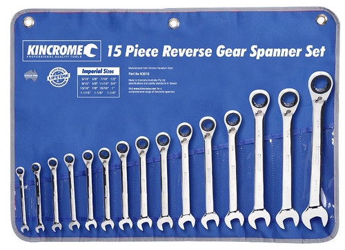 Kincrome Combination Gear Spanner Set Reversible 16 Piece Imperial K3016