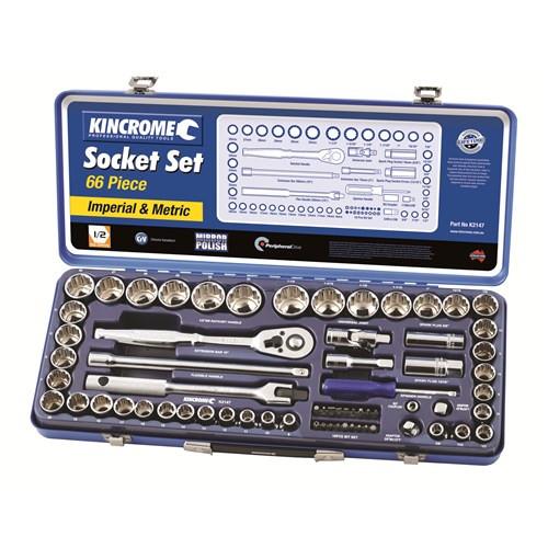 """K2147 Kincrome Socket Set 66 Piece 1/2"""" Square Drive"""