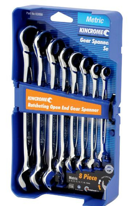 Kincrome Gear Spanner Set  Ratcheting Open End 8 Pce Metric K3098