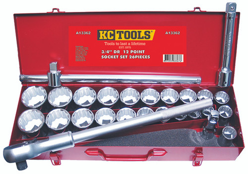 "KC TOOLS A13362 26 PCE 3/4"" DVE SOCKET WRENCH SET AF & METRIC"