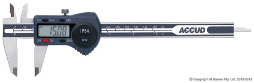 "Accud Splash Proof 1P54 8"" (200mm) Digital Vernier AC11100811"