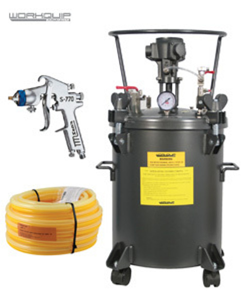 WORKQUIP 20LTR PRESSURE POT AIR AGITATION KIT WITH HOSE & S770 2.5mm SPRAYGUN