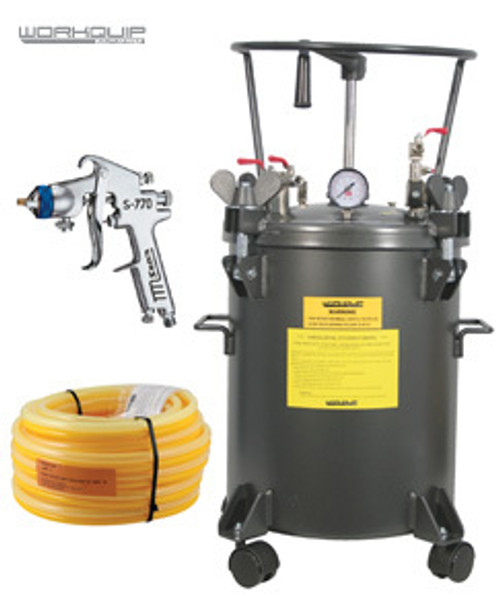 WORKQUIP 20LTR PRESSURE POT MANUAL AGITATION KIT WITH HOSE & S770 1.7mm SPRAYGUN
