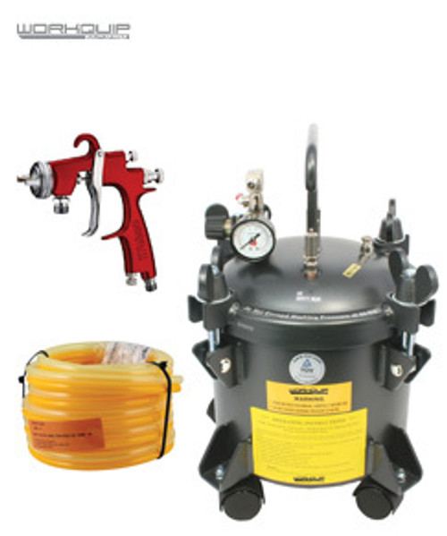 WORKQUIP 10 LTR PRESSURE POT KIT NON AGITATION 02210P15 15M HOSE & S2000F 1.2MM SPRAYGUN